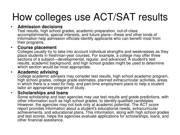 How colleges use ACT/SAT results