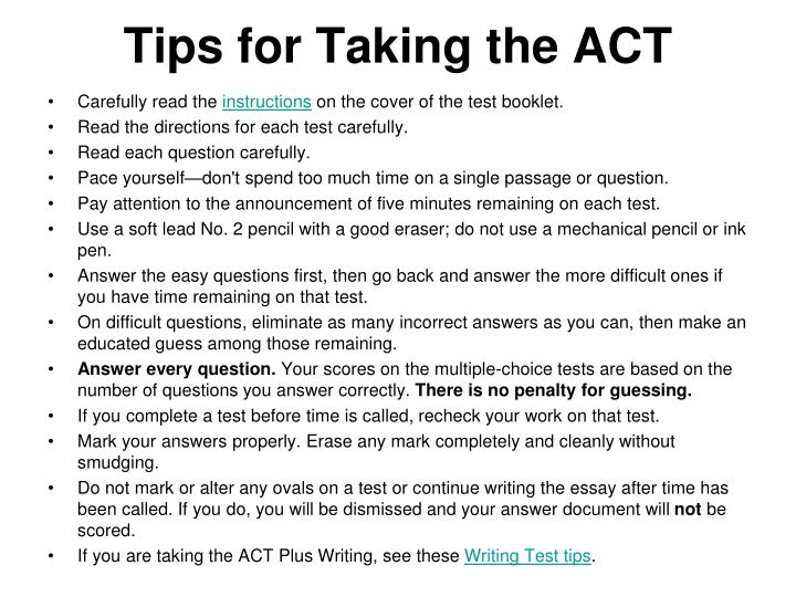 Tips for Taking the ACT