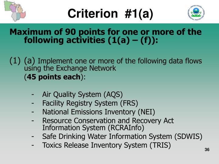 Criterion  #1(a)