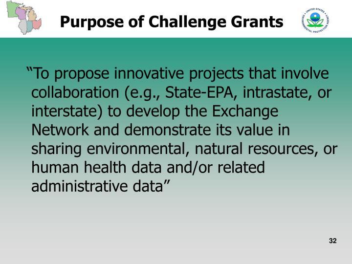 Purpose of Challenge Grants