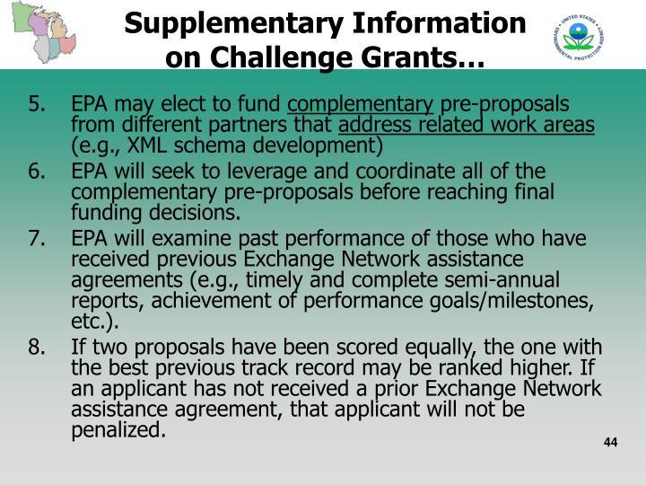 Supplementary Information on Challenge Grants…