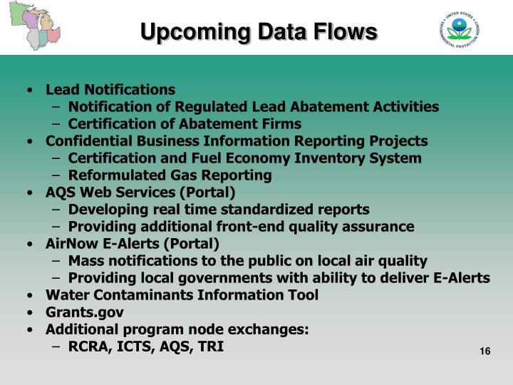 Upcoming Data Flows