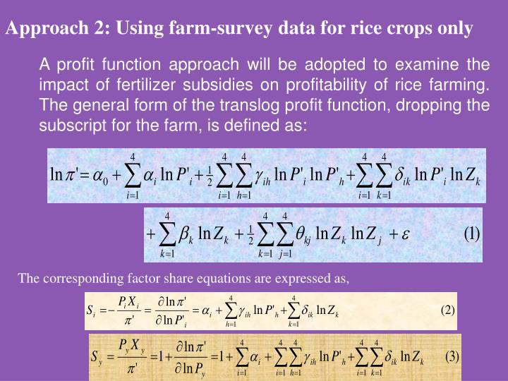 Approach 2: Using farm-survey data for rice crops only