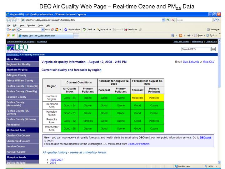 DEQ Air Quality Web Page – Real-time Ozone and PM