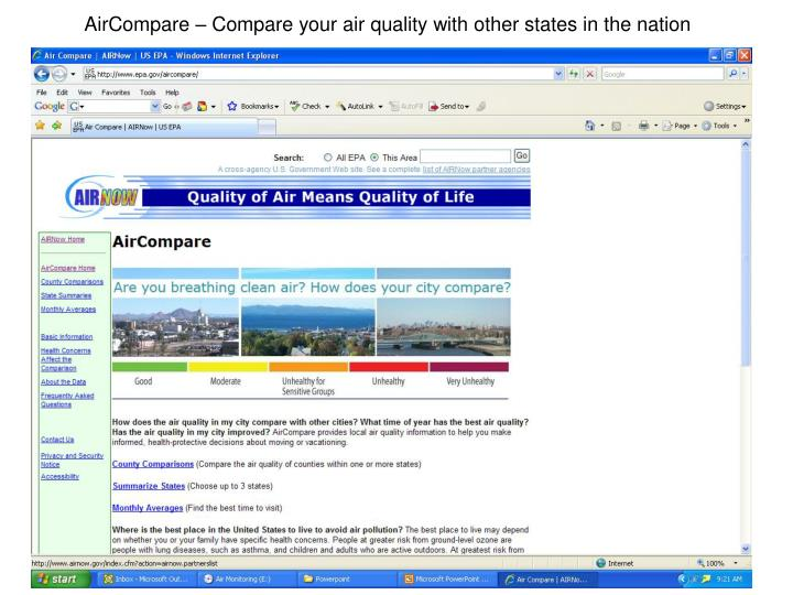 AirCompare – Compare your air quality with other states in the nation