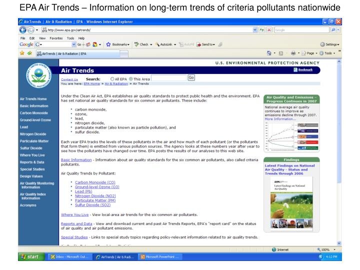 EPA Air Trends – Information on long-term trends of criteria pollutants nationwide