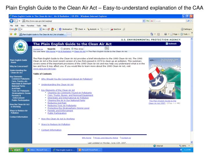 Plain English Guide to the Clean Air Act – Easy-to-understand explanation of the CAA