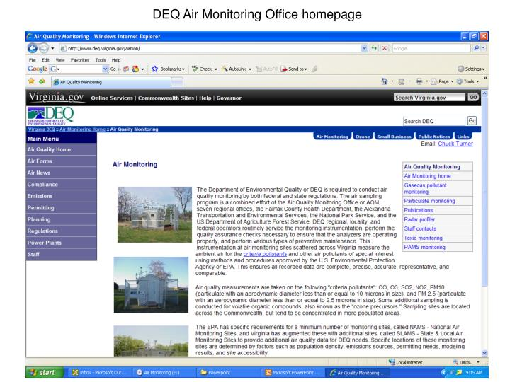 DEQ Air Monitoring Office homepage