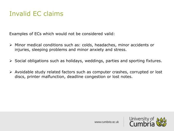 Invalid EC claims