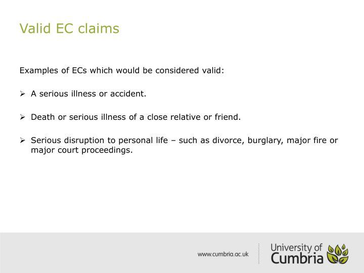 Valid EC claims