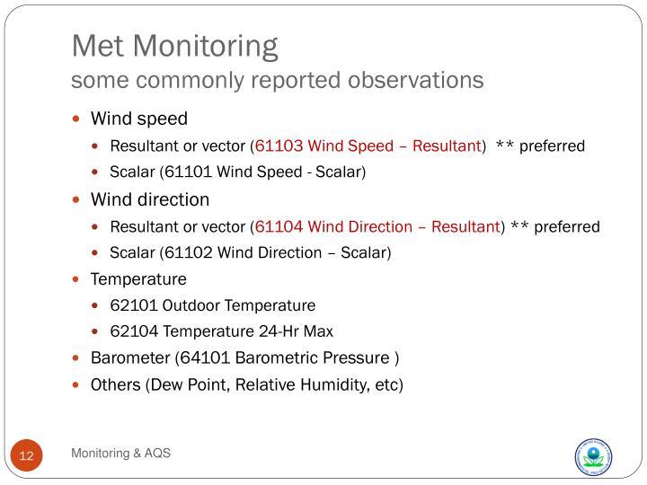 Met Monitoring
