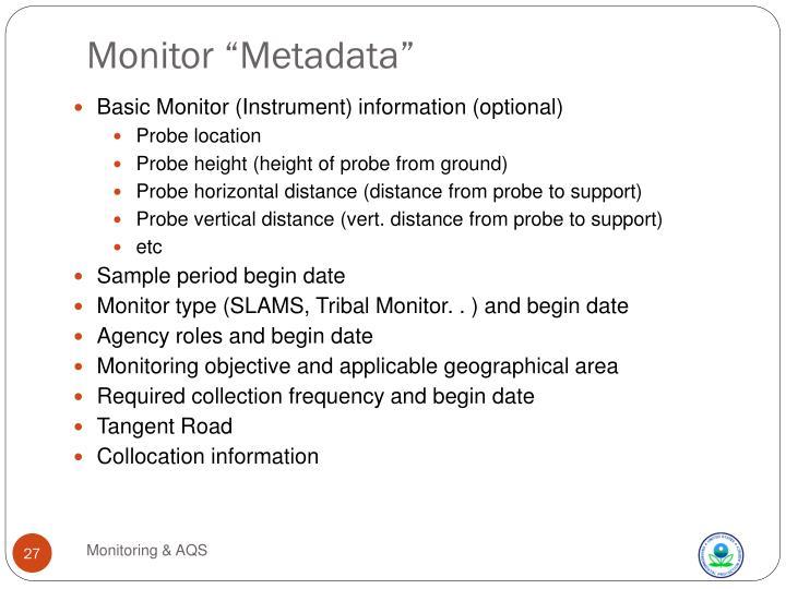"Monitor ""Metadata"""