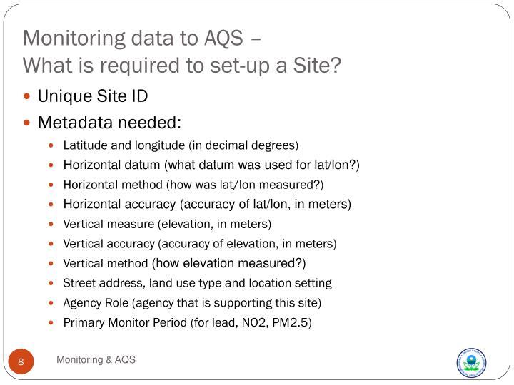 Monitoring data to AQS –
