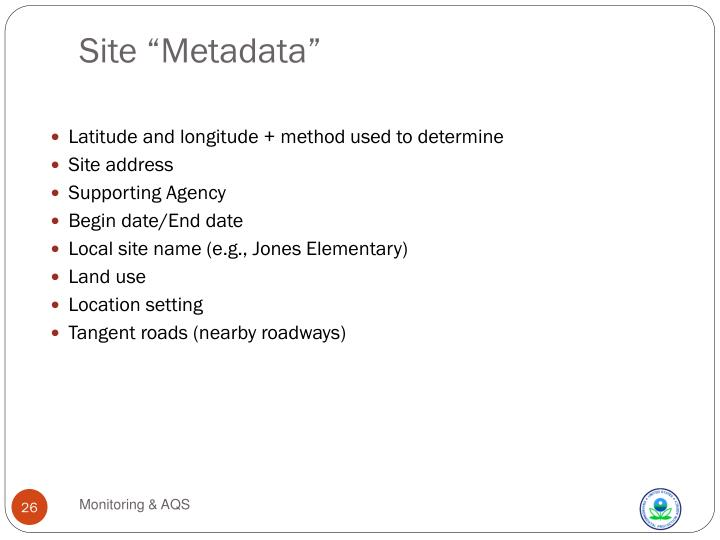 """Site """"Metadata"""""""