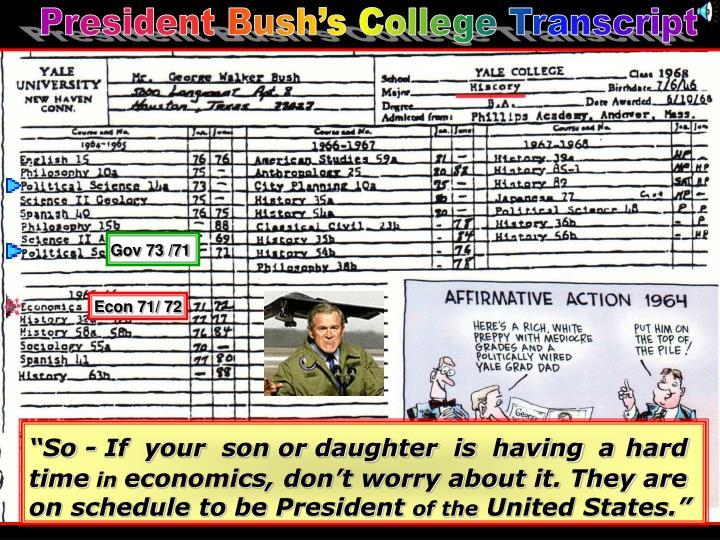 President Bush's College Transcript
