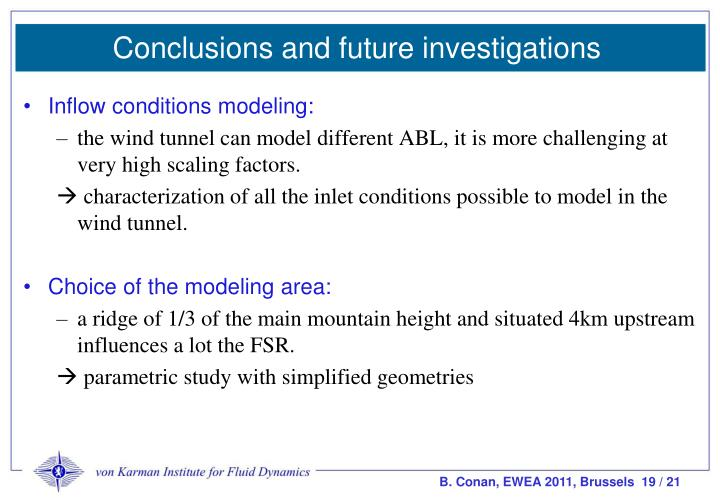 Conclusions and future investigations