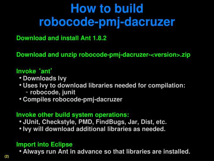 How to build robocode pmj dacruzer