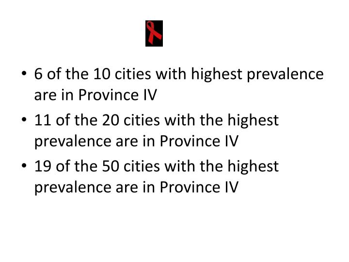 6 of the 10 cities with highest prevalence are in Province IV