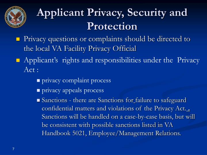 Applicant Privacy, Security and Protection