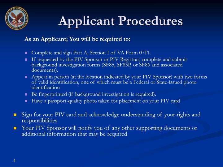 Applicant Procedures