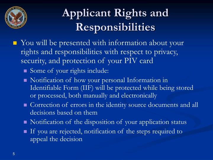 Applicant Rights and Responsibilities