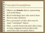 concepts assumptions