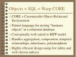 objects sql warp core