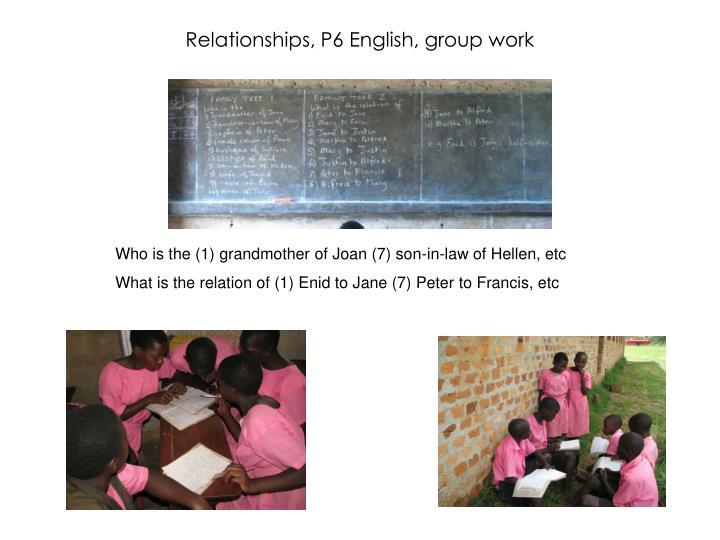 Relationships, P6 English, group work
