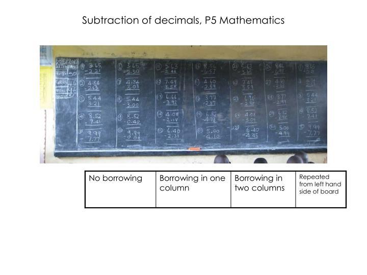 Subtraction of decimals, P5 Mathematics
