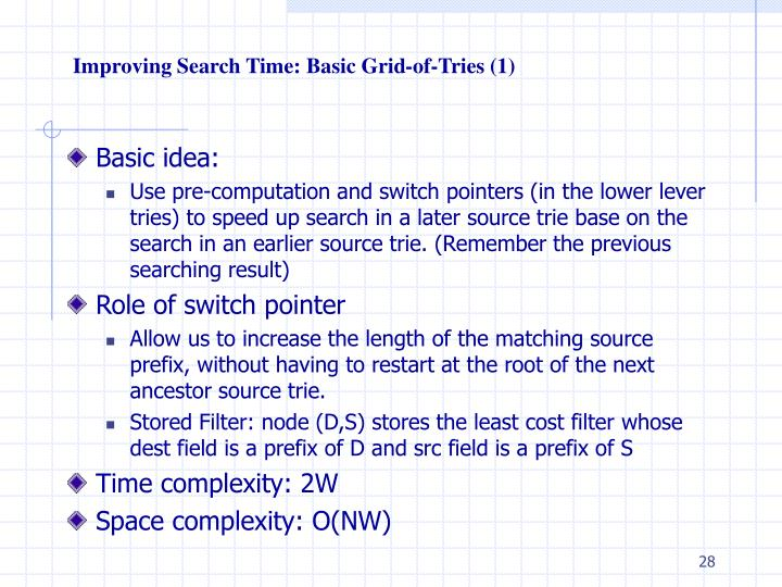 Improving Search Time: Basic Grid-of-Tries (1)