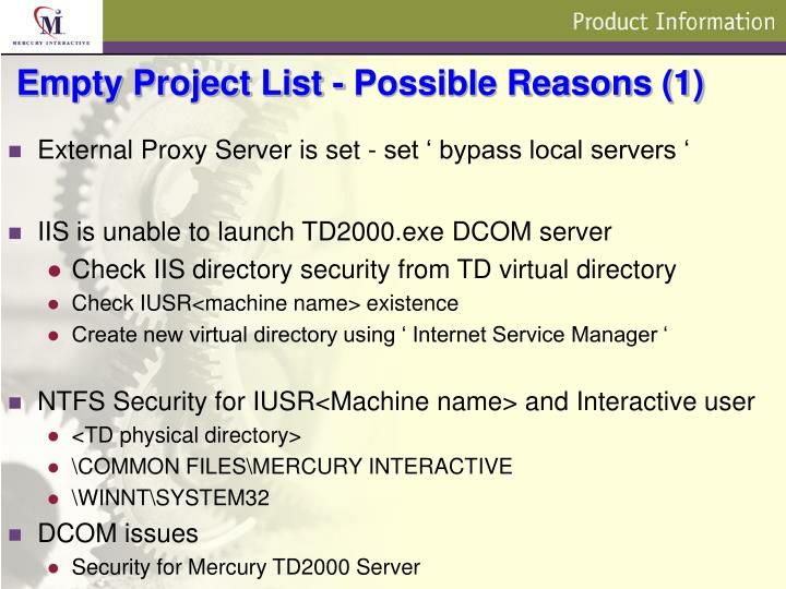 Empty project list possible reasons 1