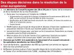 des tapes d cisives dans la r solution de la crise europ enne