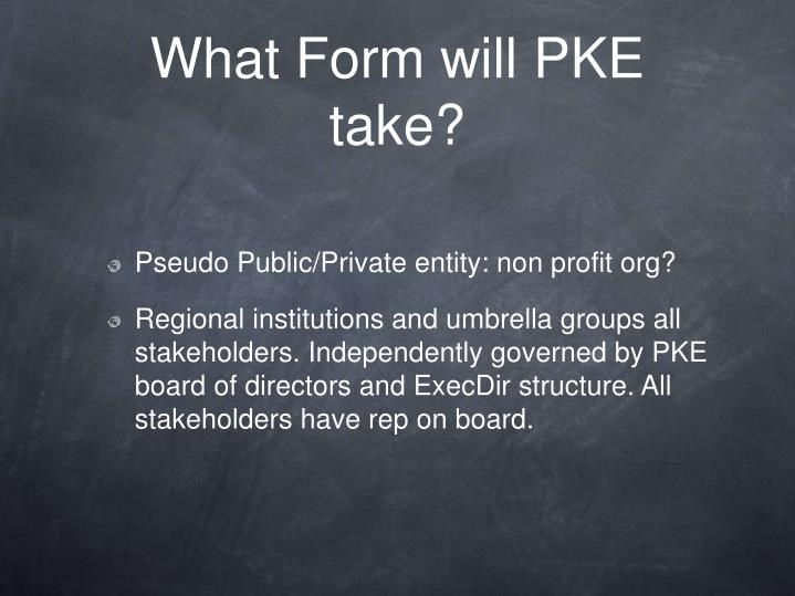 What Form will PKE take?