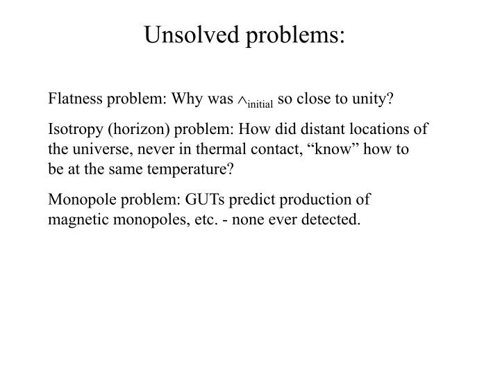 Unsolved problems:
