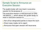 sample script to announce an executive session