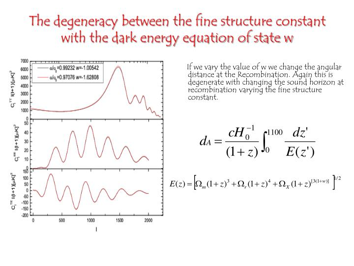 The degeneracy between the fine structure constant with the dark energy equation of state w