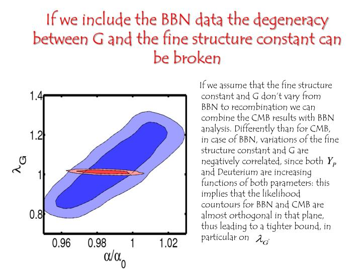 If we include the BBN data the degeneracy between G and the fine structure constant can be broken