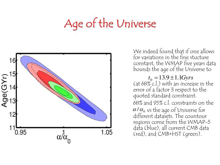 We indeed found that if one allows for variations in the fine stucture constant, the WMAP five years data bounds the age of the Universe to