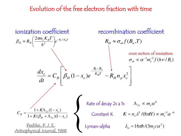 Evolution of the free electron fraction with time