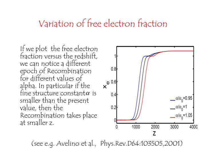 If we plot  the free electron fraction versus the redshift, we can notice a different epoch of Recombination for different values of alpha. In particular if the fine structure constant    is smaller than the present value, then the Recombination takes place at smaller z.