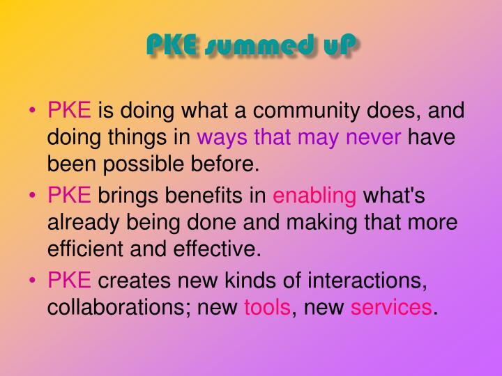 PKE summed uP