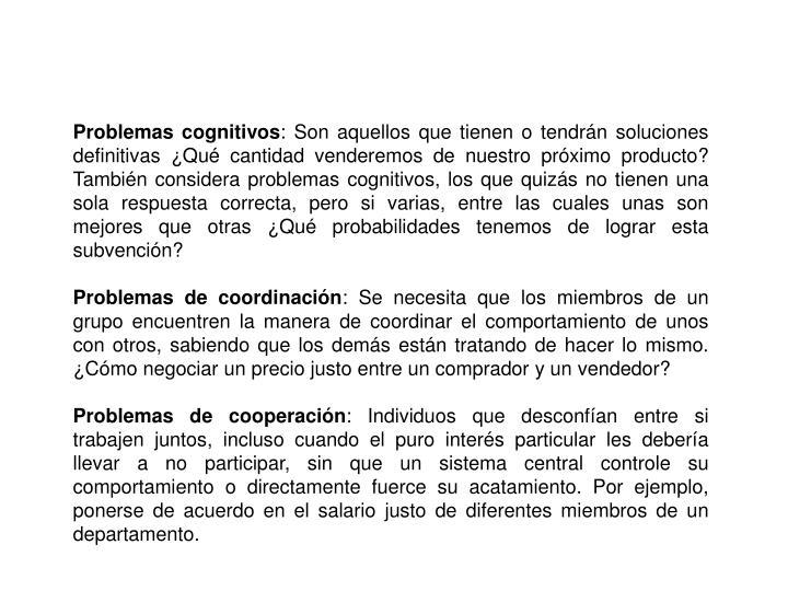 Problemas cognitivos