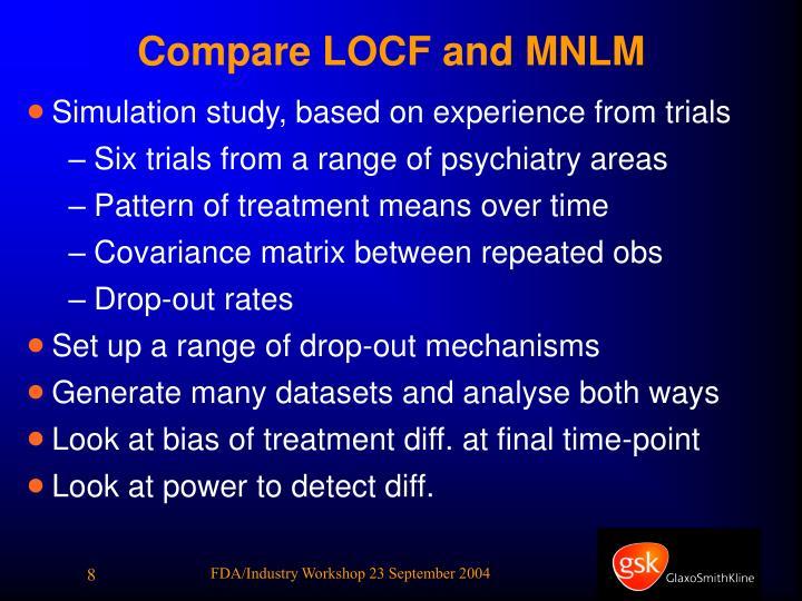 Compare LOCF and MNLM