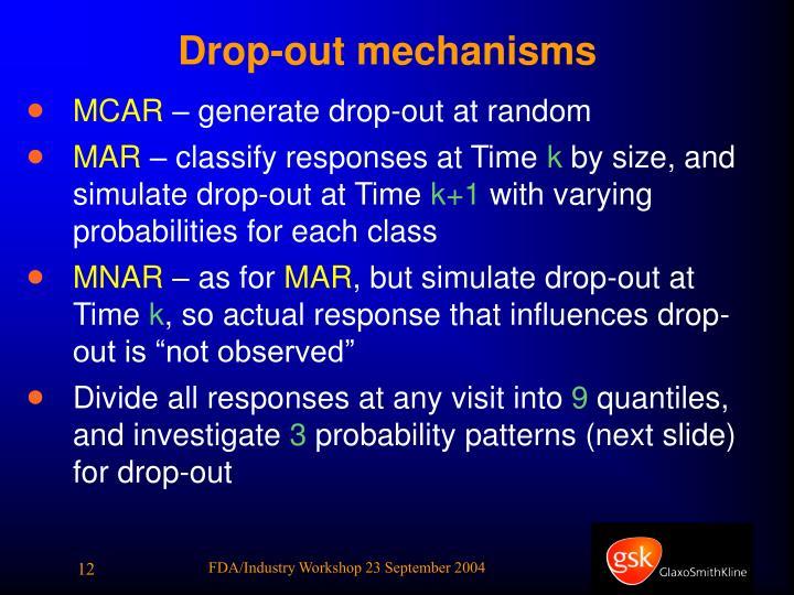 Drop-out mechanisms