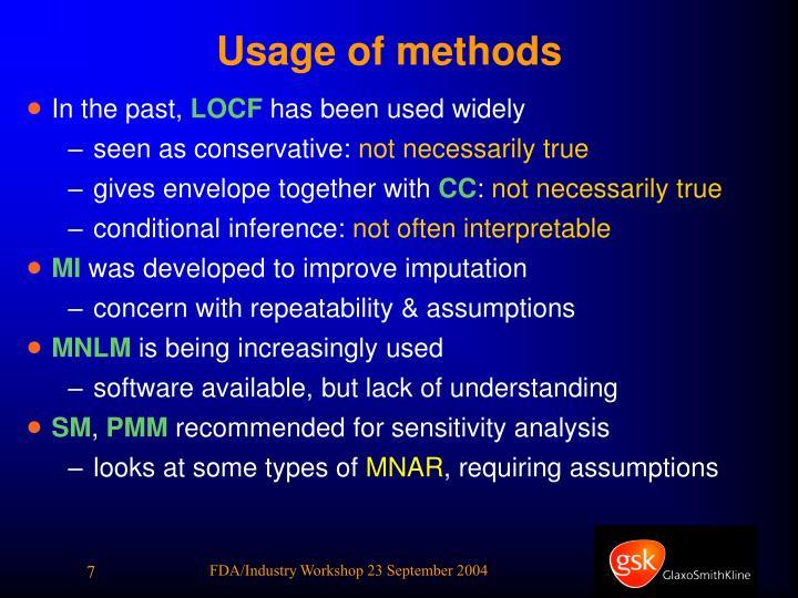 Usage of methods