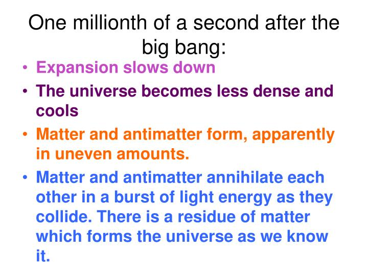 One millionth of a second after the big bang: