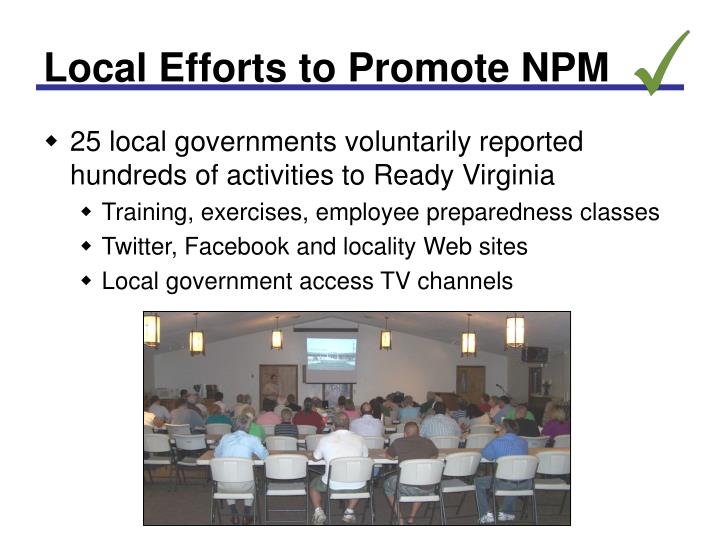 Local Efforts to Promote NPM