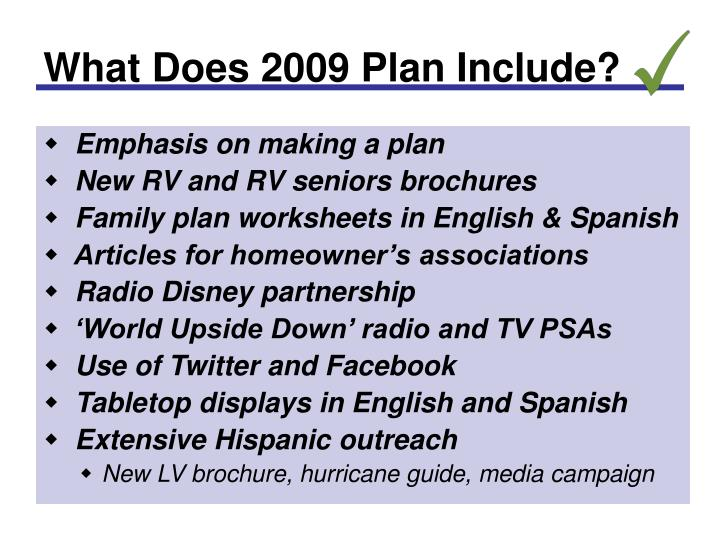 What Does 2009 Plan Include?