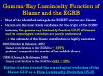 gamma ray luminosity function of blazar and the egrb