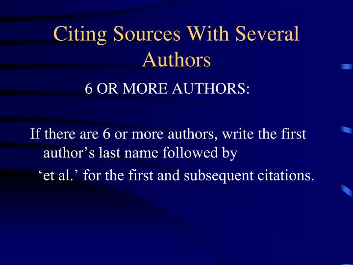 Citing Sources With Several Authors